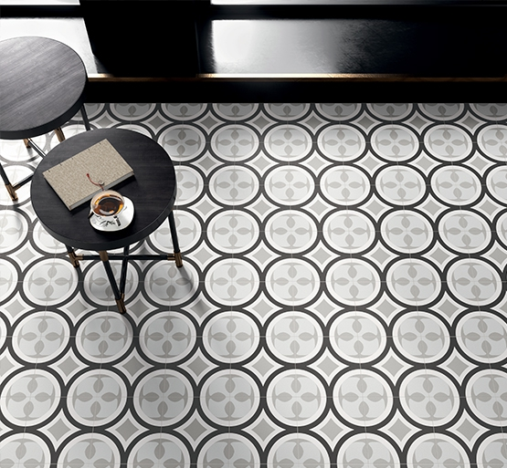 Carrelage carreau décoré Patchwork Black & White 1