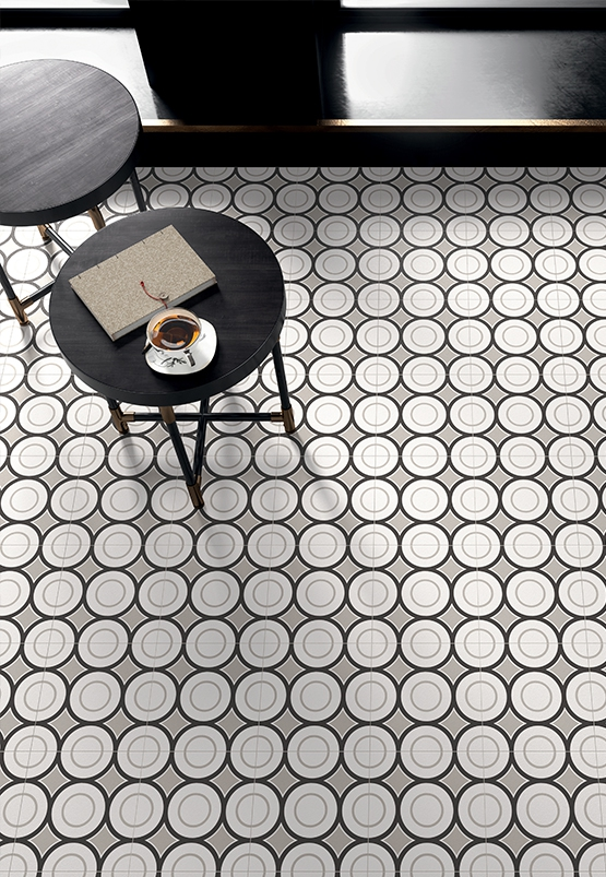 Carrelage carreau décoré Patchwork Black & White 5