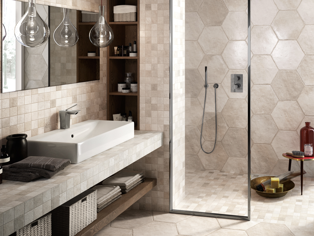 Carrelage hexagonal for Salle de bain carrelage colore