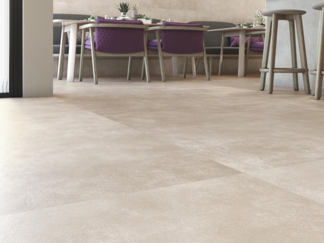 Promotion carrelage sol aspect beton Wo Taupe